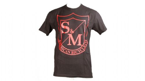 S&M Big Shield T-Shirt Red On Black Large